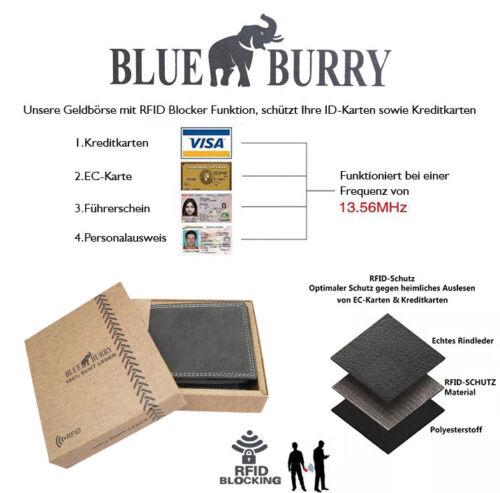 ★Herren Geldbörse Portemonnaie Blue Burry Lederbörse RFID Portmonee Querformat ★