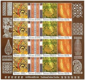 India 2009 Traditional Indian Textiles TEN sheetlets MNH