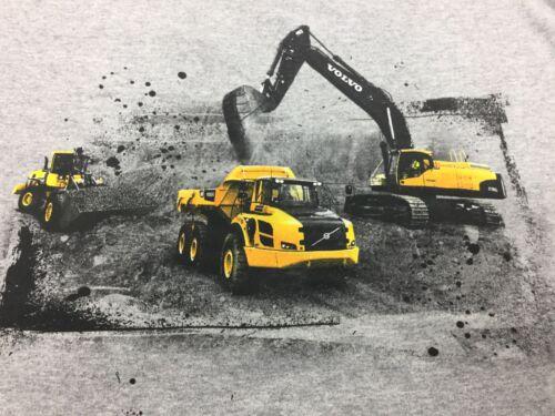 Youth Volvo Construction Equipment T Shirt Hauler Excavator Loader Kids Grey Tee