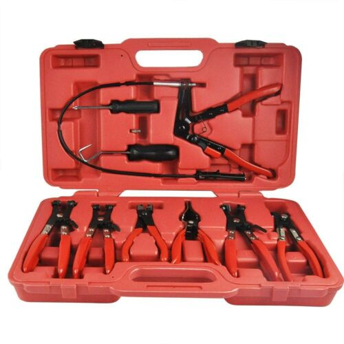 Kit removal and installation of snap clips clamps 10 pieces pliers has cli