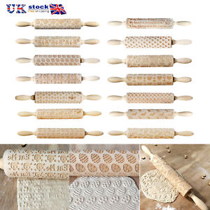 Wooden-Embossing-Rolling-Pin-for-DIY-Baking-Cookies-Cake-Pastry-Fondant-Xmas-UK