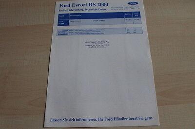 Prospekt 11 Daten & Ausstattungen Ford Escort Rs 2000 Preise & Tech Gut 106606