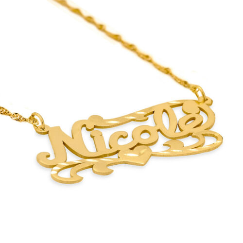 Personalized Double Plated Sterling Silver Gold Plated Name Necklace Any Name