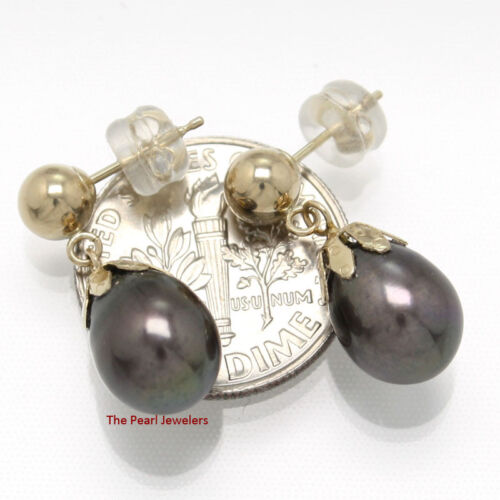 Black Cultured Pearl Dangle Earrings; 14k yellow Gold 5mm Ball-Ring /& Claws TPJ