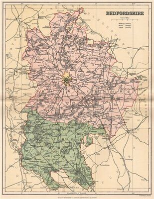 Antique County Map 1893 Old Vintage Plan Chart An Indispensable Sovereign Remedy For Home Art Bedfordshire