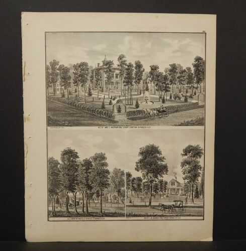 Illinois Du Page County Map Neltnor Residence Engravings 1874 K14#12