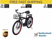 X-treme Newport Electric Bike Beach Cruiser - Black, Free Ship