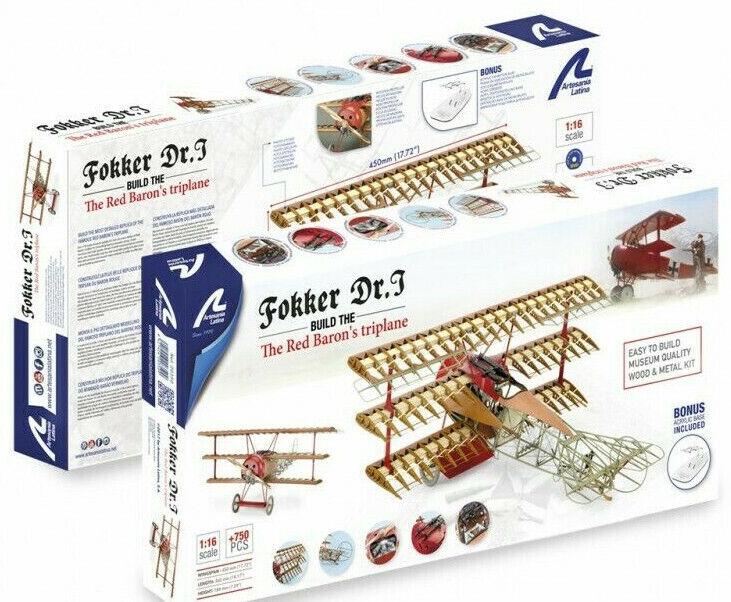 Artesania Latina Fokker Dr.I Red Baron 1 16 Metal & Wood Model Kit 20350