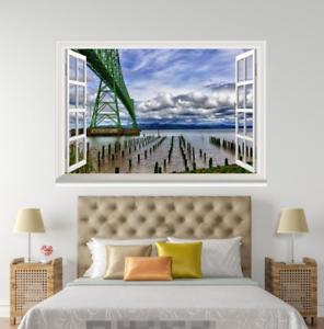3D Gridge Green 558 Open Windows Mural Wall Print Decal Deco AJ Wallpaper Summer
