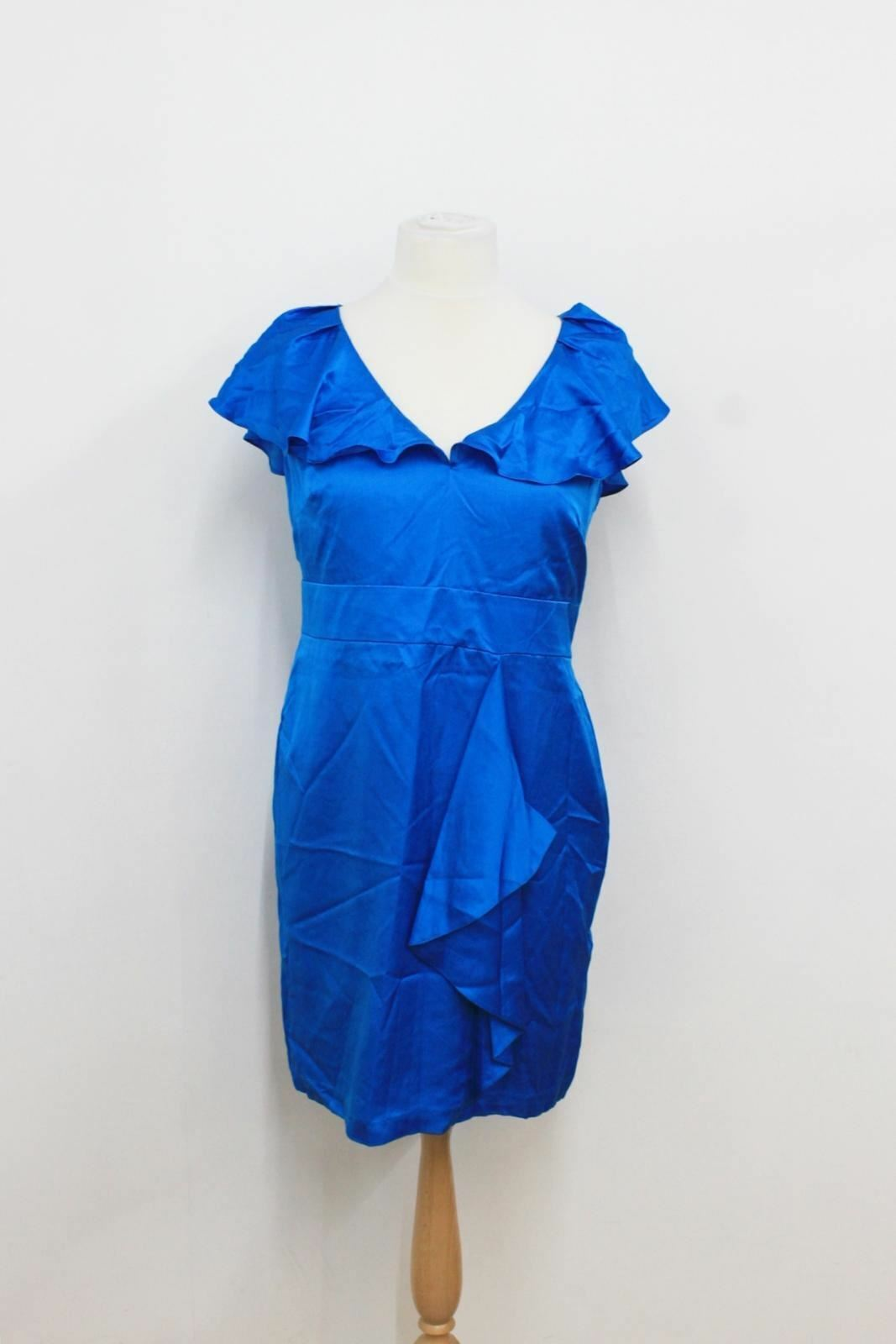 BNWT LIMITED COLLECTION Ladies Blau Frilled Silk Blend Shift Dress Größe UK16