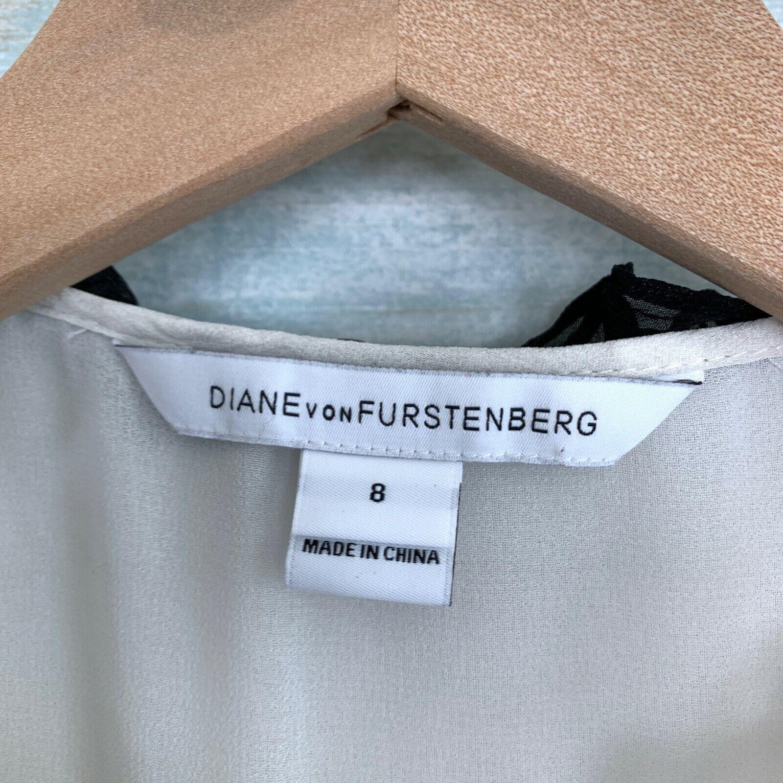 Diane Von Furstenburg Betsy Silk Tuxedo Blouse Bl… - image 6