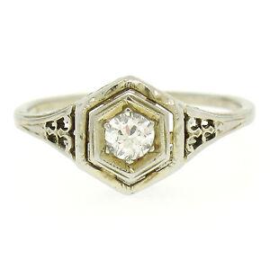 Détails Bague Blanc Sur Filigrane Européenne Or Solitaire Art Diamant 18k Déco Ancien EIeHY9b2WD