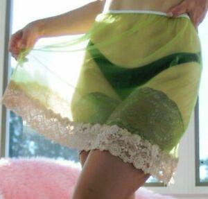 """VTG style hand made Lime Green Sheer Nylon Wide lace Half Slip skirt M/L 15"""""""