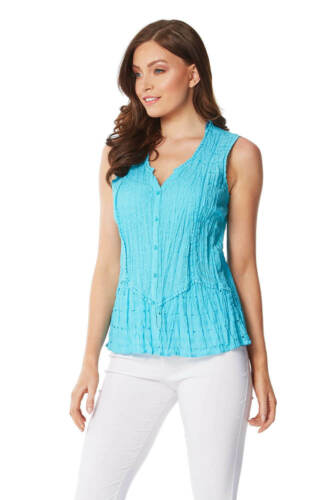 Roman Originals Women 100/% Cotton Sleeveless Crinkle Blouse