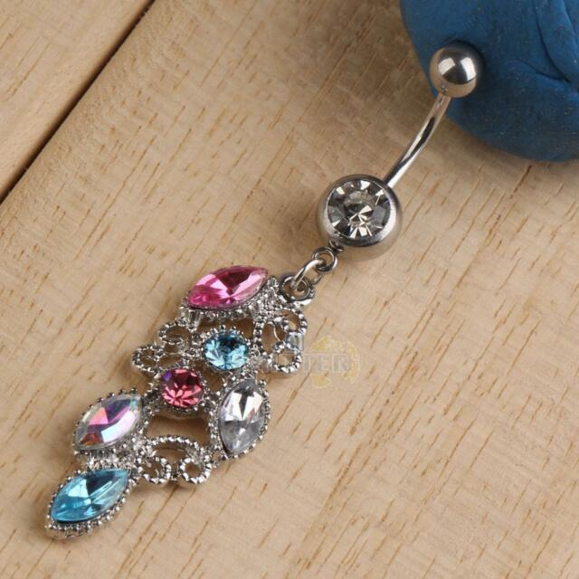 Dangle Colorful Rhinestone Crystal Navel Belly Body Piercing Button Ring Jewelry
