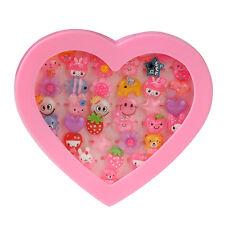 36pcs New Candy Kids Girls Cartoon Plastic Rings Wholesale Pink Heart Box Gift