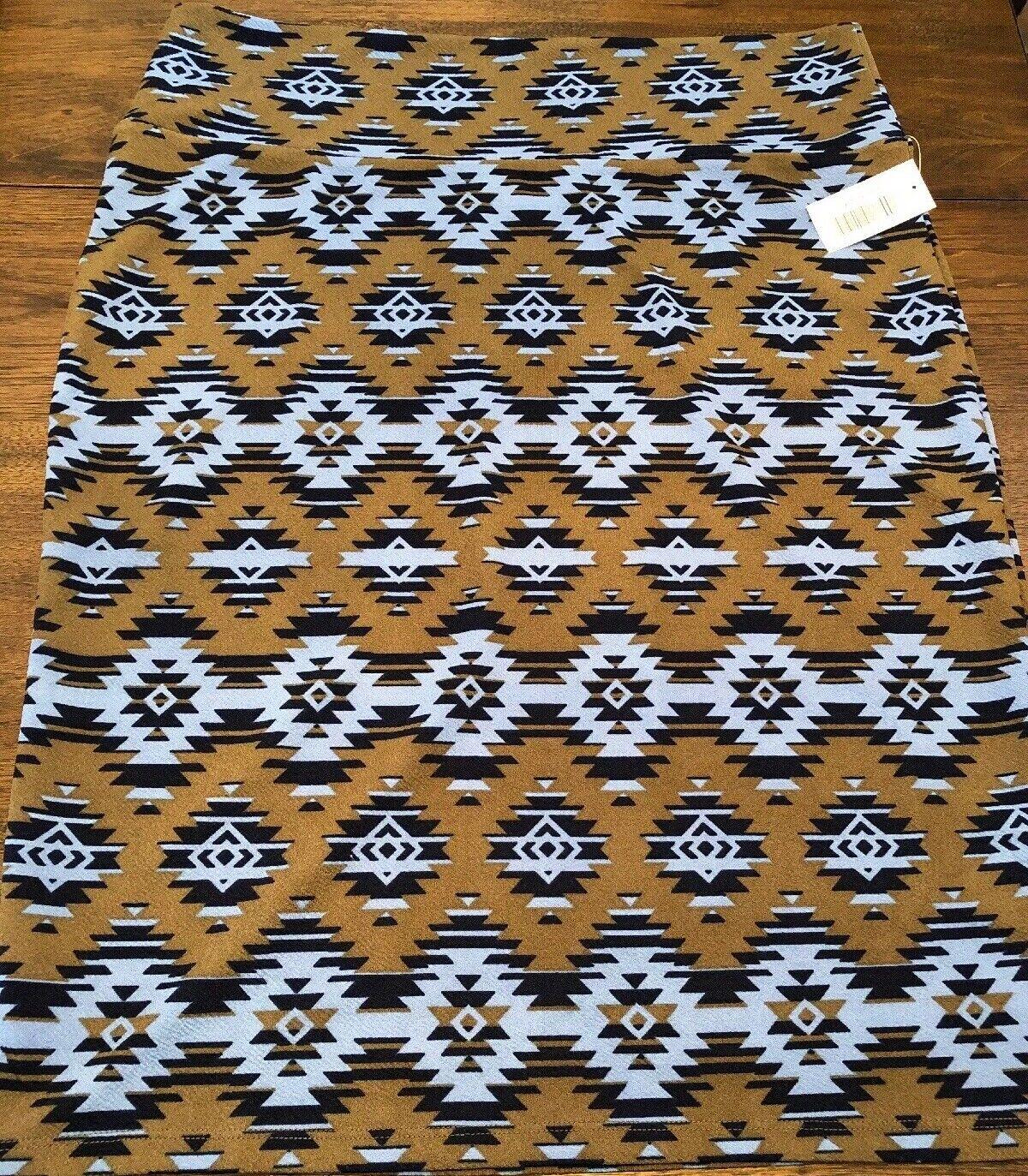 NEW LuLaRoe 2XL Chocolate Brown Navy bluee Slate bluee Aztec Cassie Pencil Skirt