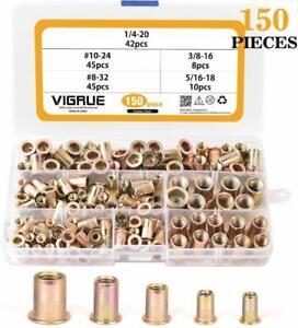 """VIGRUE 150pcs #8-32#10-24 1//4/""""-20 5//16/""""-18 3//8/""""-16 Carbon Steel UNC Rivet Nuts R"""