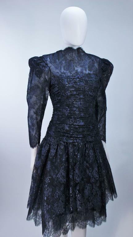 ARNOLD SCAASI Navy Metallic Lace Cocktail Dress S… - image 5