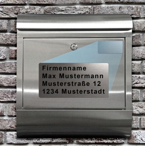 HAUSNUMMER EDELSTAHL BRIEFKASTEN DESIGN Mit GRAVUR NAMENSCHILD Extra Kontur