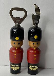 Vintage Painted Wooden Soldiers Bar Barware Can Opener & Bottle Opener Set