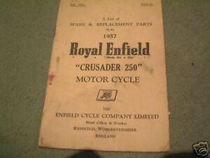 Details about Royal Enfield Crusader Parts Book 1957 Original