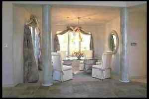 Sala da pranzo marmo pilastri piastrelle pavimento a foto