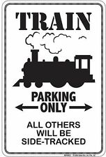 Train Parking only metal sign for model railroad train collectors