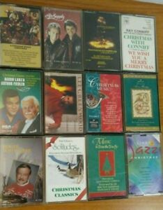 Lot-of-12-Christmas-Holiday-Music-Cassette-Tapes-with-Carry-Case
