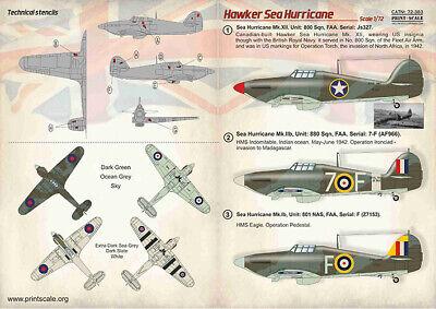 Print Scale Decals 1//72 HAWKER HURRICANE British WWII Fighter