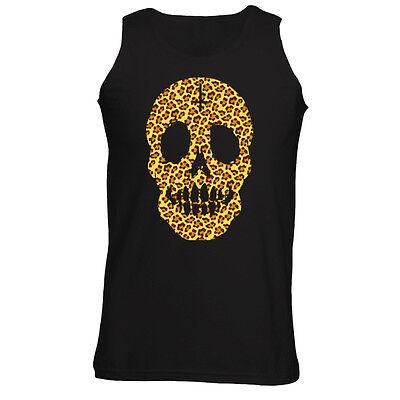 Mens Leopard Print Skull Face Cross Vest Tank Top S-XXL