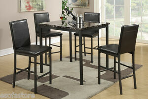 Faux Leather 5 Pc Dining Set Counter Height Dining Table High Chairs Dining Room