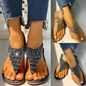 Women-Rivet-Studded-Sandals-Flat-Flip-Flops-Ankle-Strap-Shoes-Boho-Summer-Beach