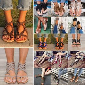 Women-039-s-Espadrilles-Sandals-Flat-Summer-Gladiator-Pumps-Beach-Flip-Flop-Shoes