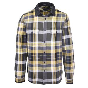 GUESS-Men-039-s-Grey-Yellow-Olive-Green-White-Plaid-L-S-Flannel-Shirt