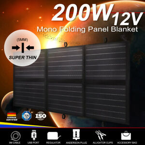 200W-12V-Folding-Solar-Panel-Blanket-Mono-Completed-Kit-With-Dual-USB-12-Volt