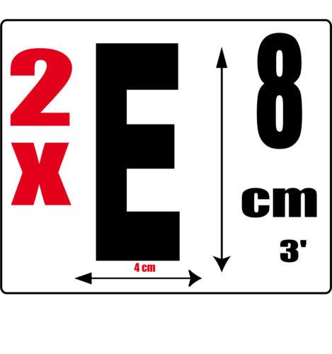 lot 2 lettres [E] Sticker autocollant noir hauteur 8cm Lettre adhésive en vinyle