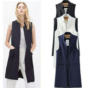 Image is loading Women-Ladies-Summer-Outerwear-Coat-Sleeveless-Long-Waist- cd1b0c78c6