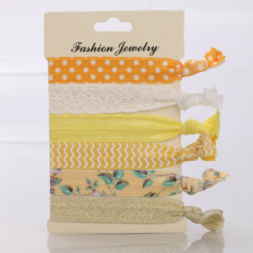 6pcs//set Women Elastic Hair Ties Band Ropes Ring Ponytail Holder Accessories