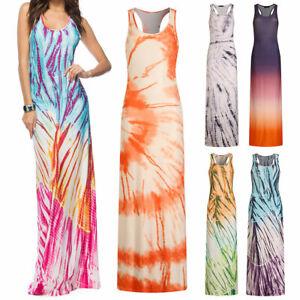 Womens Summer Boho Maxi Long Tank Dress Gradient Color Block Print Slim Sundress