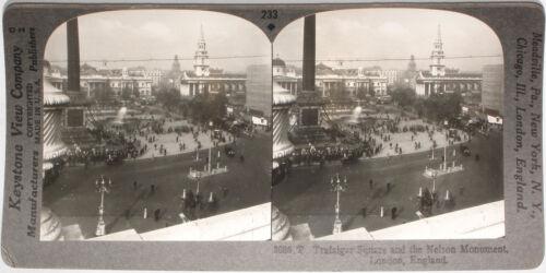 Keystone Stereoview of Trafalgar Square London ENGLAND From RARE 1200 Card Set