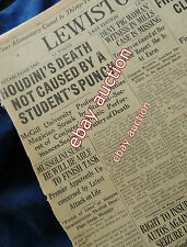 HOUDINI's DEATH, not caused by student punch! Nov.1, 1926 (Historical Newspaper)