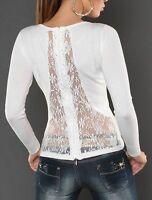 SeXy Miss Damen Fein Strick Pulli Strass Spitze Zipper Pullover 34/36/38 weiß