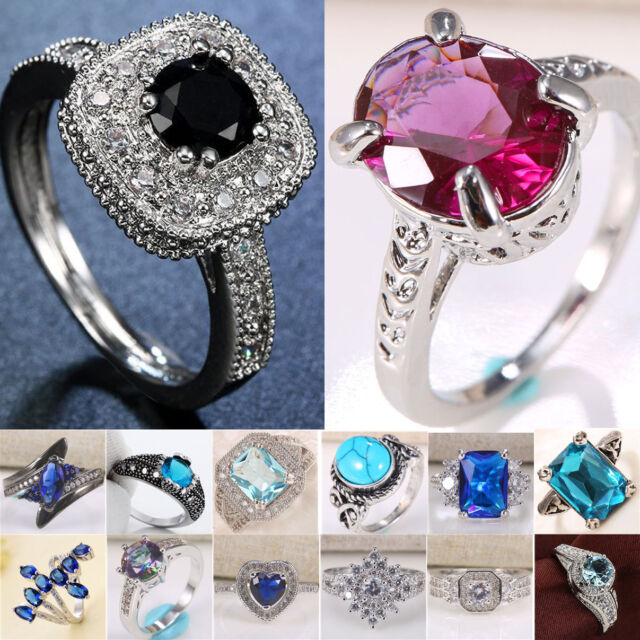 925 Silver Women Man Wedding Engagement Sapphire Topaz Ring Size 6-13