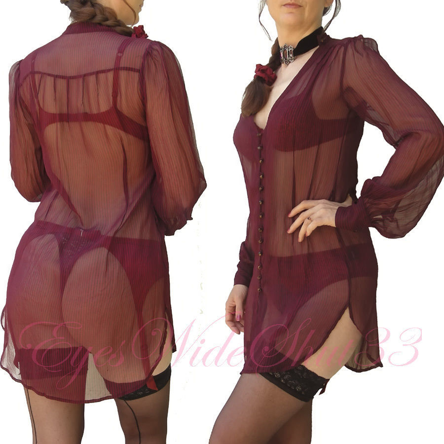Sheer Silk Sexy Long Blouse Shirt See Through Transparent Tunic Lip Service S  M