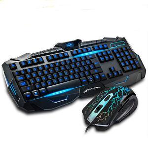 blue light usb wired led illuminated backlit pro gaming keyboard mouse set ebay. Black Bedroom Furniture Sets. Home Design Ideas