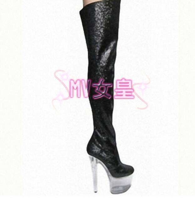15cm Rodilla Mujer Plataforma Claro Tacones Altos Charol Sobre La Rodilla 15cm botas Zapatos Sexy 487c81