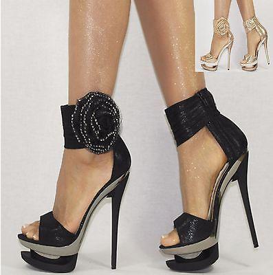 Damenschuhe Schwarz Gold 35-40 Plateau Pumps Damen Schuhe Party High Heels NEU