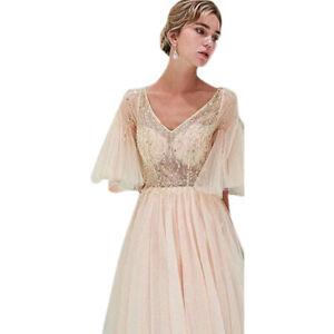 c657dcb1e35 Das Bild wird geladen Damen-Spitze-Abendkleid-Brautjungfer-Hochzeit -Maxikleid-Partykleider-Ballkleider