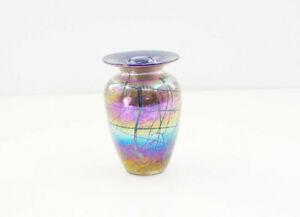 "Vintage Murano Glass Cobalt Blue Iridescent Small Vase, 5"""